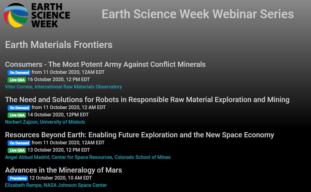 Earth Science Week: Webinar series on Earth materials frontiers
